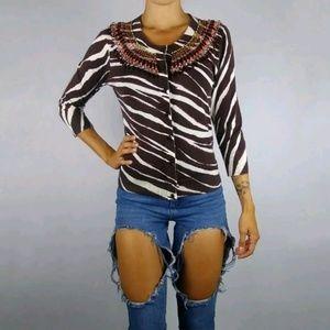 Kate Spade embellished cotton cardigan sweater